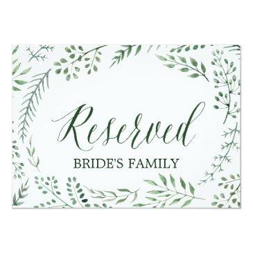 """green rustic wreath wedding """"reserved"""" sign"""