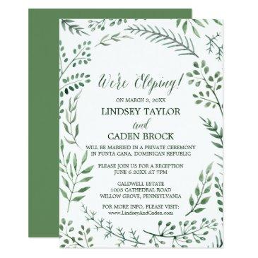 green rustic wreath we're eloping reception only invitations