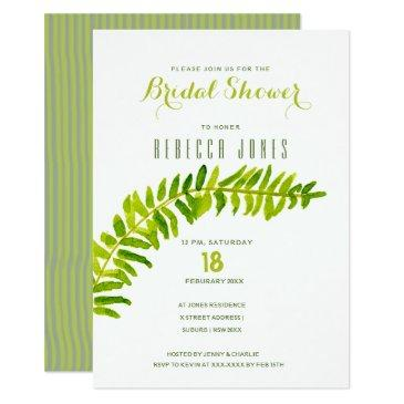 green watercolour fern foliage bridal shower