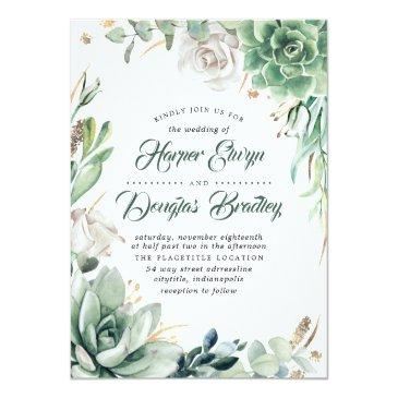 Small Greenery | Green & Gold | Succulent Floral Wedding Front View