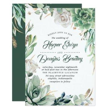 greenery | green & gold | succulent floral wedding invitation