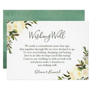 greenery watercolor floral wedding wishing well invitations
