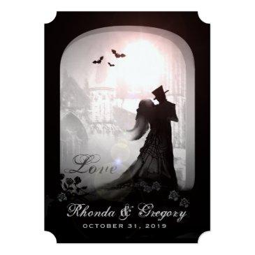 halloween elegant love silhouette together with invitations