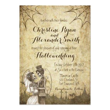 Small Halloween Wedding Invitation With Skeleton Couple Front View