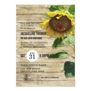hand painted sunflower wooden fence bees hive invitations