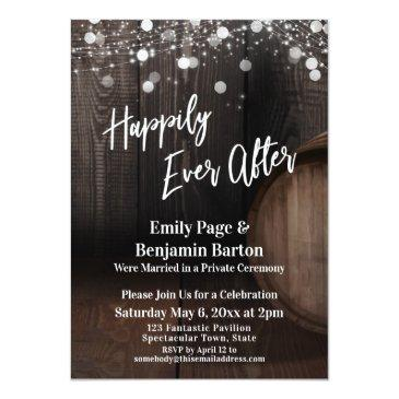 Small Happily Ever After Wood Wine Barrel And Lights Invitation Front View