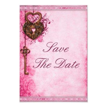 heart lock & key pink wedding save the date
