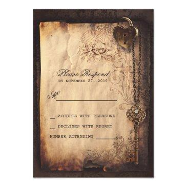 Small Heart Lock & Key Vintage Wedding Rsvp Front View