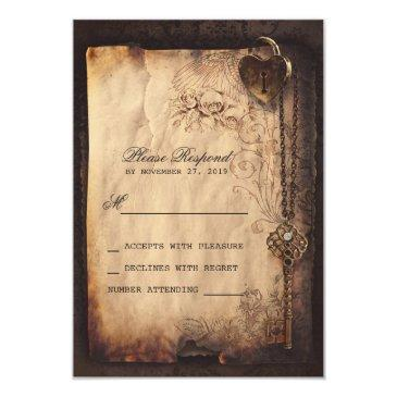 heart lock & key vintage wedding rsvp