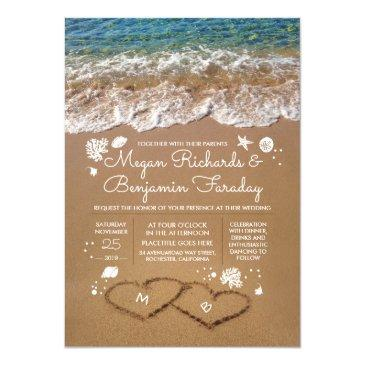 hearts in the sand summer beach wedding