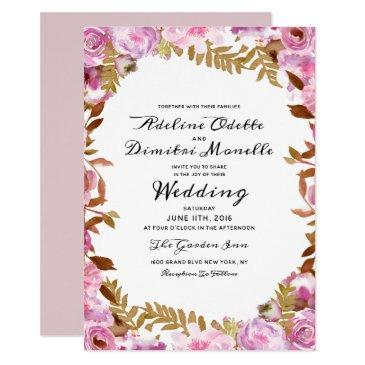 heirloom blush floral watercolor wedding ceremony invitations