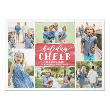 Small Holiday Cheer Collage Holiday Photo Invitationss Front View