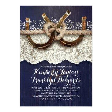 horseshoes lace wood navy rustic wedding