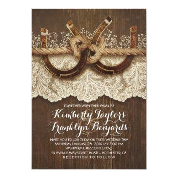 Small Horseshoes Lace Wood Rustic Country Wedding Invitationss Front View