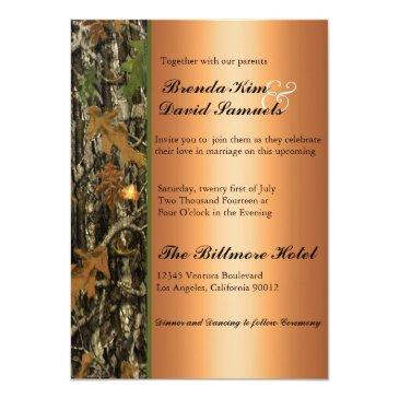 Small Hunting Camo Leaves Wedding Invitations Front View