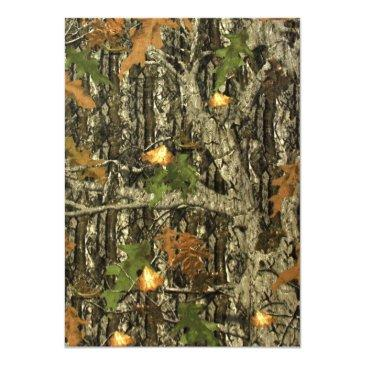 Small Hunting Camo Leaves Wedding Invitations Back View