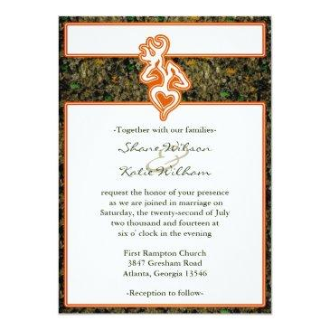 Small Hunting Camo Wedding Invitation Front View