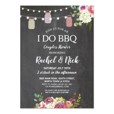 i do bbq couples shower jars lights chalk floral invitations