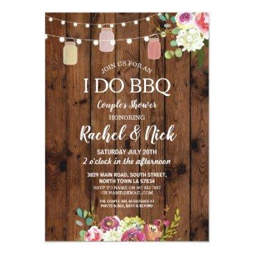 i do bbq couples shower jars lights wood floral invitation