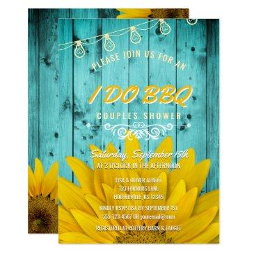 i do bbq couples shower rustic sunflowers teal