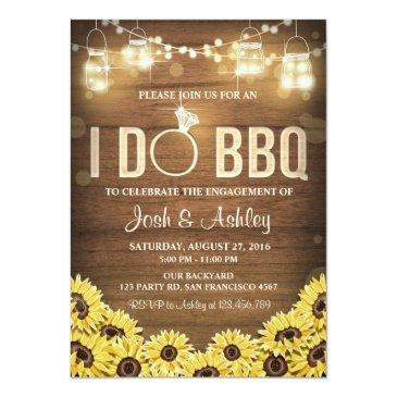 Small I Do Bbq Invite Sunflower Couples Shower Rustic Front View