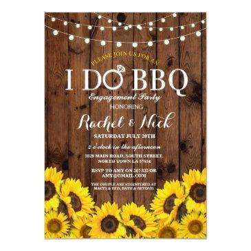 Small I Do Bbq Sunflower Couples Shower Rustic Invite Front View
