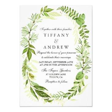 in the woods forest leaf wreath wedding invite