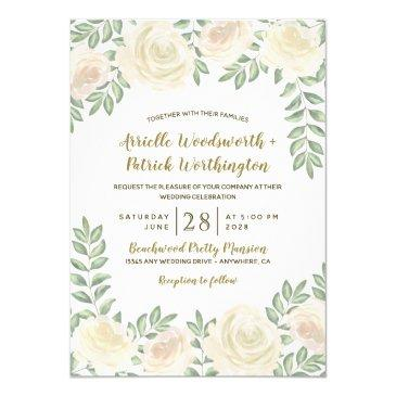 ivory blush champagne floral wedding invitationss