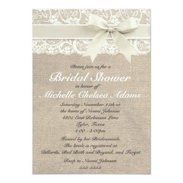 Small Ivory Lace Burlap Bridal Shower Invitations Front View