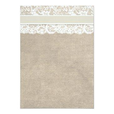 Small Ivory Lace Burlap Bridal Shower Invitations Back View