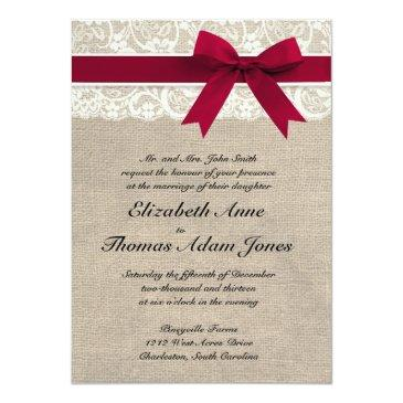 Small Ivory Lace Red Ribbon Burlap Wedding Invitations Front View