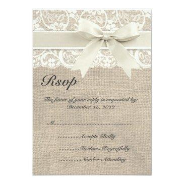 Small Ivory Lace Ribbon And Burlap Wedding Rsvp Invitation Front View