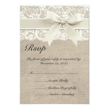 ivory lace ribbon and burlap wedding rsvp