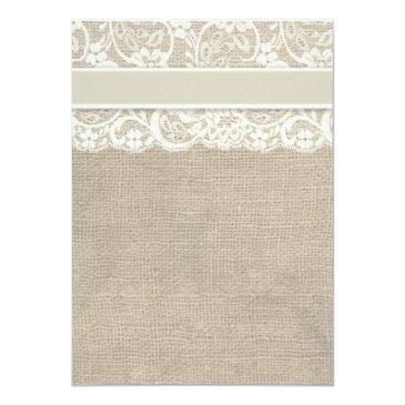 Small Ivory Lace Ribbon And Burlap Wedding Rsvp Invitation Back View