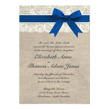Small Ivory Lace Royal Blue Burlap Wedding Front View
