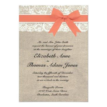 ivory lace rustic burlap wedding invitation- coral