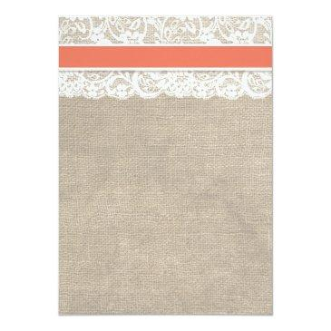 Small Ivory Lace Rustic Burlap Wedding Invitation- Coral Back View