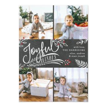 Small Joyful Wish | Christmas Photo Collage Invitation Front View