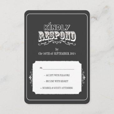 kindly respond chalkboard style wedding rsvp