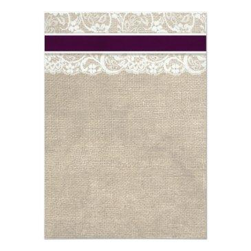 Small Lace And Burlap Rustic Wedding Invitation- Plum Back View