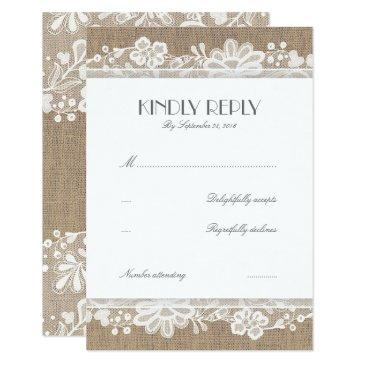lace and burlap vintage wedding rsvp