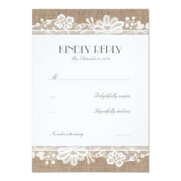 Small Lace And Burlap Vintage Wedding Rsvp Invitationss Front View