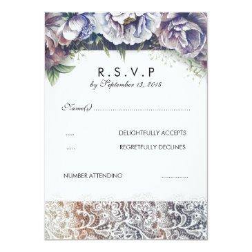 Small Lace And Vintage Watercolor Flowers Rsvp Invitationss Front View