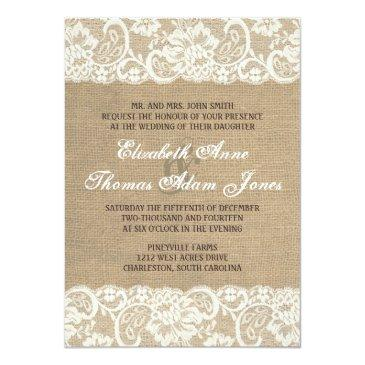 Small Lace Look Rustic Warm Burlap Wedding Invitation Front View