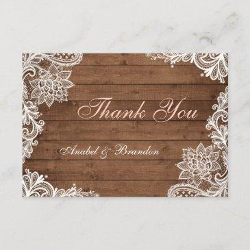 lace rustic wood thank you