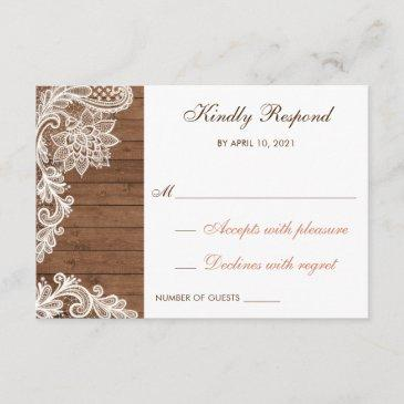 lace wood rustic respond rsvp  wedding