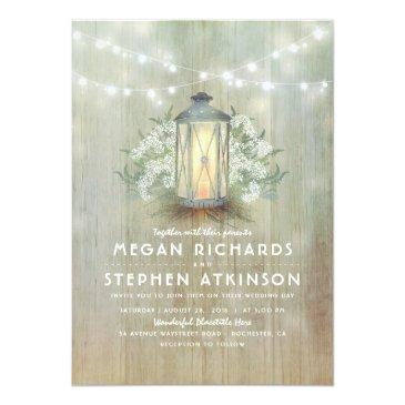 lantern and baby's breath rustic summer wedding invitations