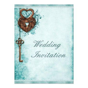 large romantic hearts lock and key teal wedding