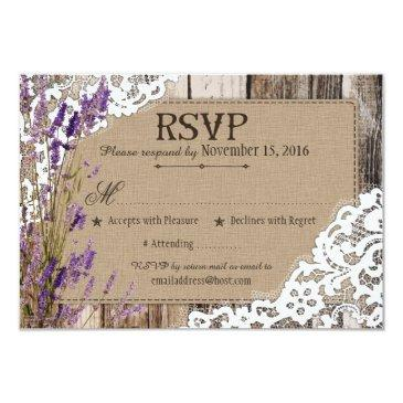 lavender flowers wood lace rustic rsvp