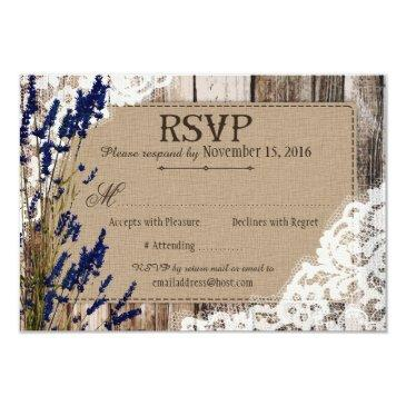 lavender flowers wood lace rustic rsvp invitation